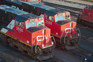 CN locomotives.