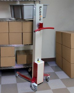 The LiftStik's mast-style configuration places the platform and load directly over the four wheels to provide stability.