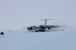 Volga-Dnepr's IL-76TD-90VD on the ice airfield in Antarctica