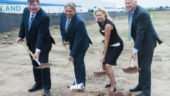 L-R: Jamie Wood, Bob Mihok, Bonnie Crombie, and Philip King turning the first shovels.