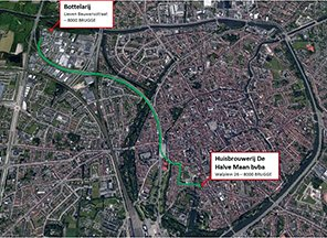 The pipeline's route, right through the heart of Bruges.