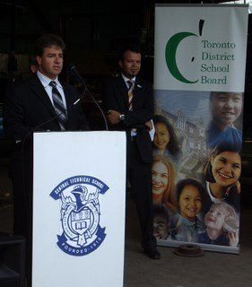 APPS president Rob McDonald says a few words at Central Technical Institute in Toronto.