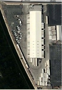 An overhead view of Hercules' new 65-door L.A. terminal.