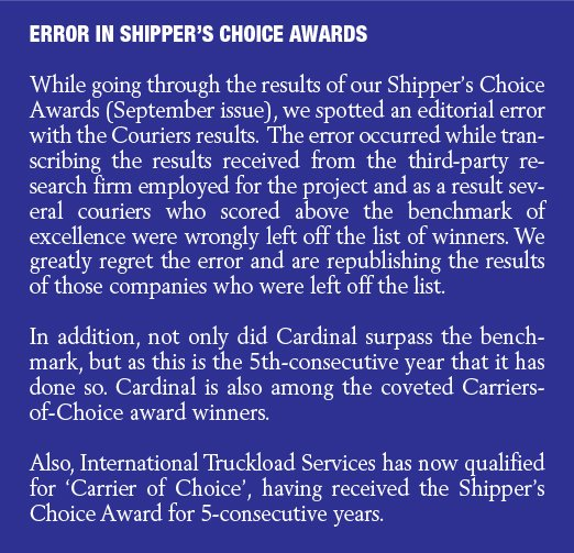 New Courier Chart results for Shipper's Choice awards