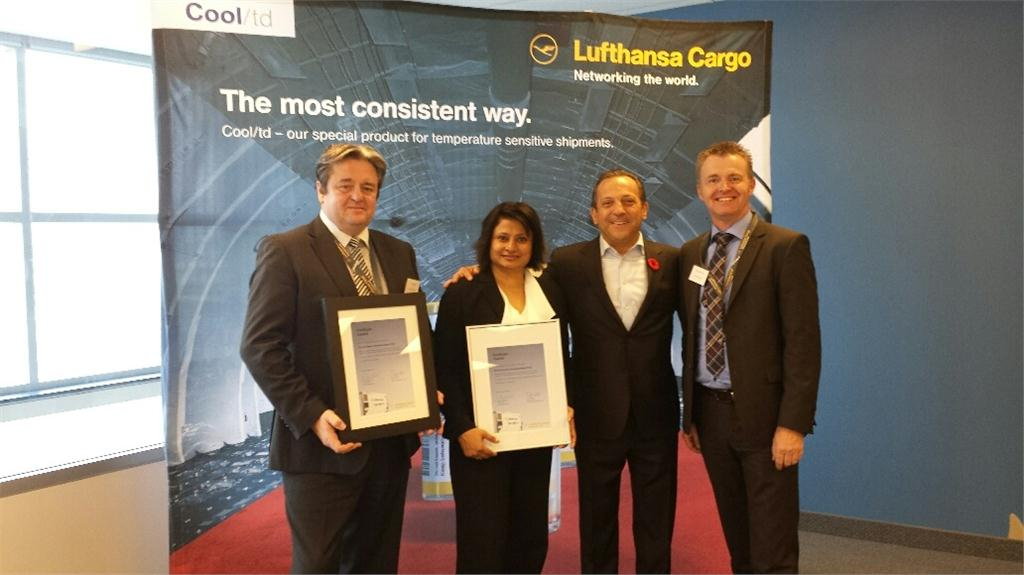 L-R: Gary Ogden, Vice President, GTA World Cargo, Suzannah Pinto,  Manager - Eastern Canada at Lufthansa Cargo AG, and Mario D'Urso, President, GTA World Cargo, accept the award of certification from Jrg Bodenrder, (far right), Director of Lufthansa's Cool Competence Centre.